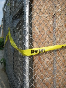 Gentrify caution tape on Myrtle Ave